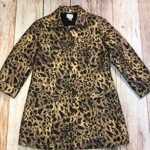 Chico's Animal Print Lined Jacket Size M
